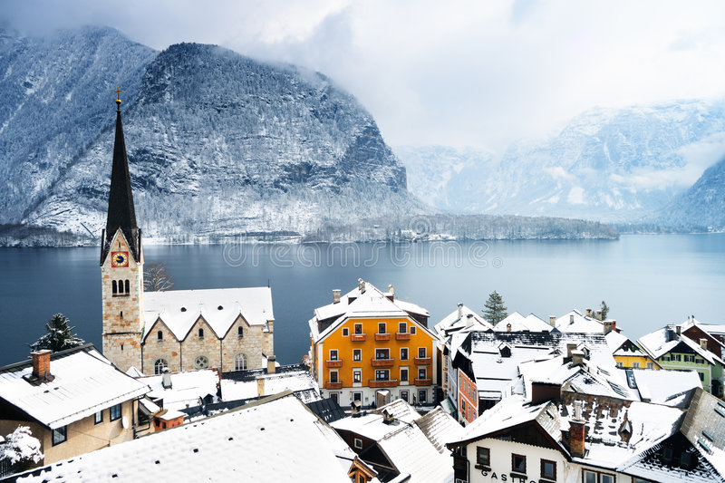 Beautiful town in mountains stock photography