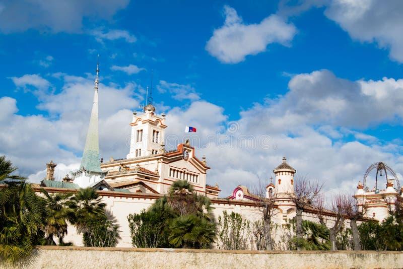 The beautiful town of Sitges with seagulls, Parròquia de Sant Bartomeu i Santa. The beautiful town of Sitges with seagulls, winter Spain, Landscape of the stock photo