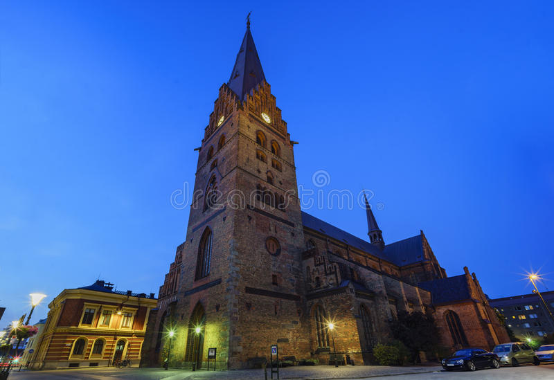The beautiful Tradesmen's Chapel. The beautiful and historical Tradesmen's Chapel of Malmo, Sweden at night stock photos
