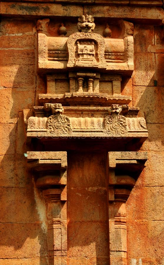 Beautiful traditional architecture design on the stone tower wall in the ancient Brihadisvara Temple in Thanjavur, india. Ancient temple-UNESCO World Heritage stock photo