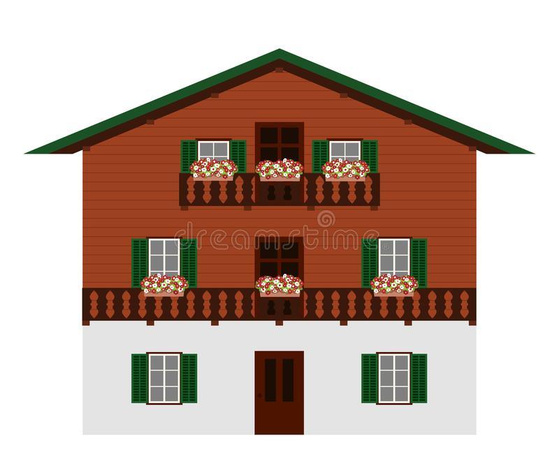 Beautiful traditional austrian wooden mountain house, isolated. Alpine chalet. Vector illustration. vector illustration