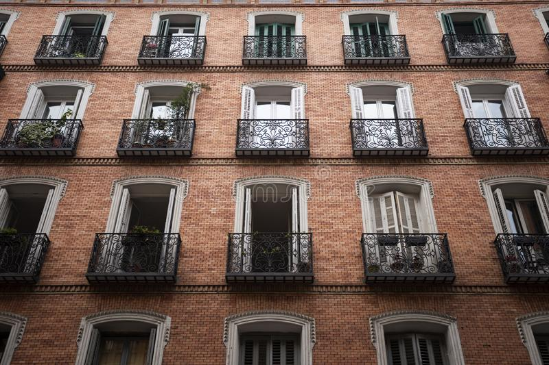 Beautiful traditional european architecture on the streets of the famous capital of Spain - Madrid royalty free stock images
