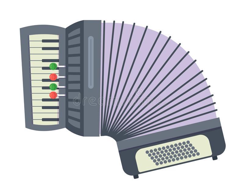 Beautiful traditional musical instrument, accordion, for concerts, performances, holidays. Beautiful traditional musical instrument accordion. Part of cultural stock illustration