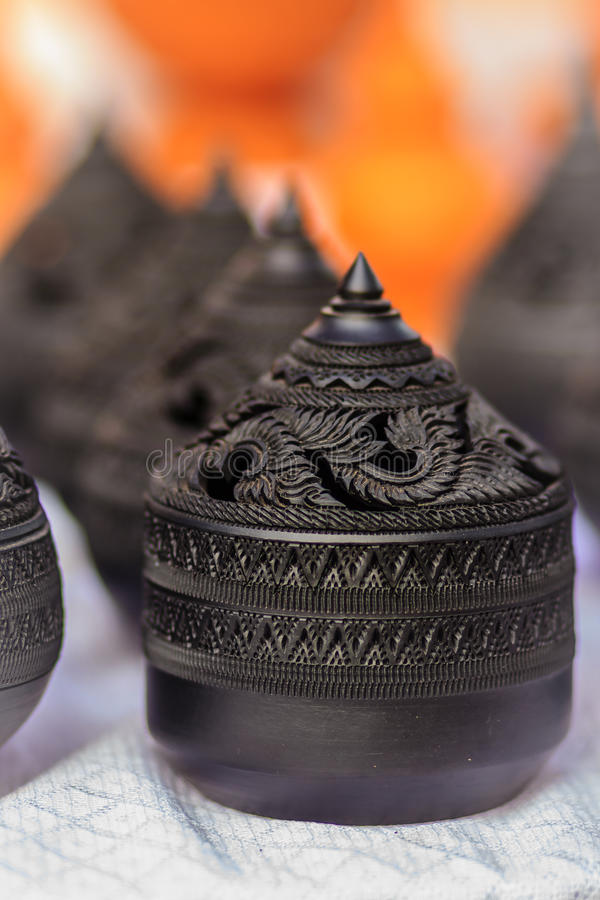 Beautiful traditional Thai black porcelain ceramic bowls for aroma therapy spa for sale in the flea market , Thailand. stock photography