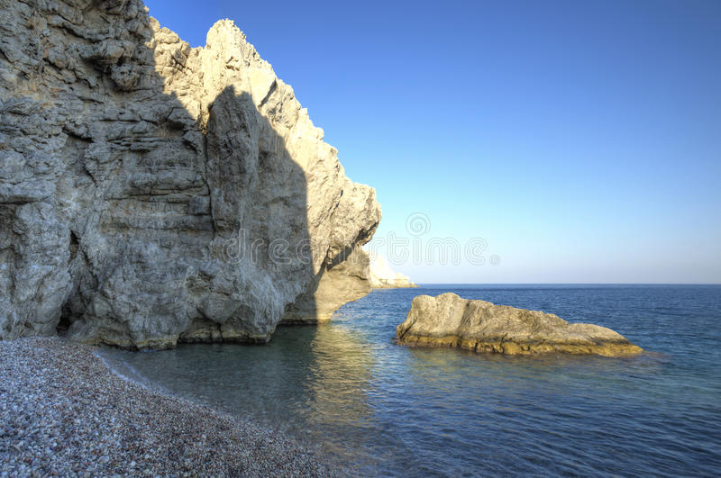 Beautiful Trafandou beach in Rhodes stock photos