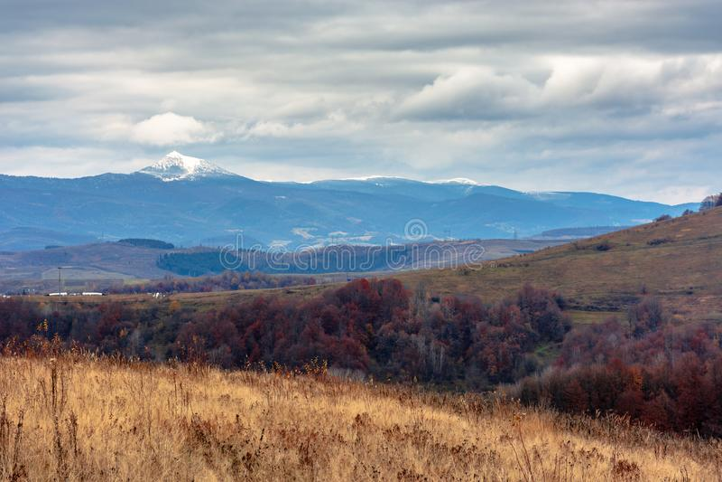 Beautiful transcarpathian landscape in november stock images