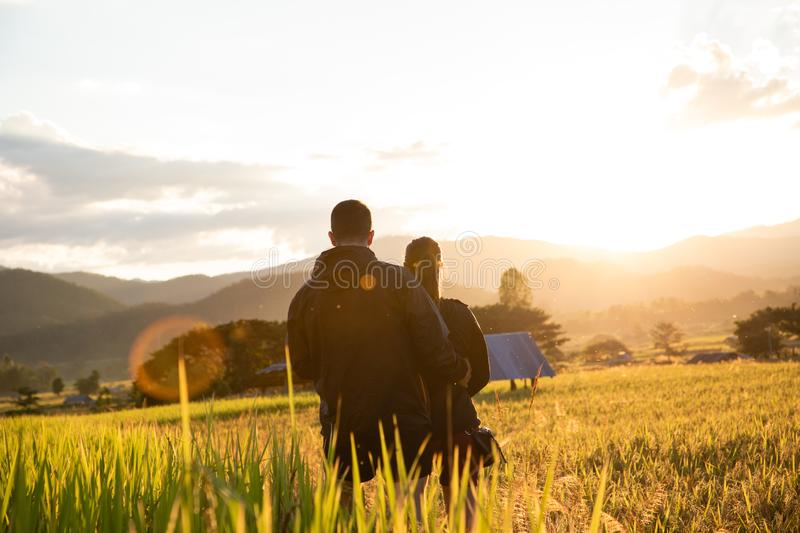 Beautiful traveler couple on yellow rice fields in Thailand royalty free stock photo