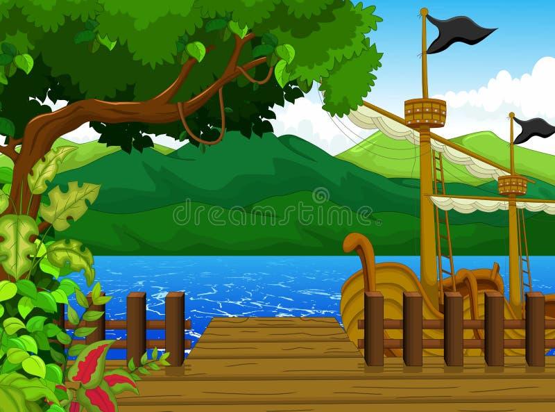 Beautiful tree on dock cartoon with mountain landscape background. Illustration of beautiful tree on dock cartoon with mountain landscape background royalty free illustration