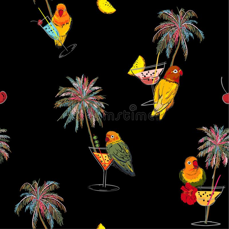 Beautiful trendy Dark Tropical in colorful seamless pattern. Hand drawn palm trees, cocktail, pink parrots bird, summer birds royalty free illustration