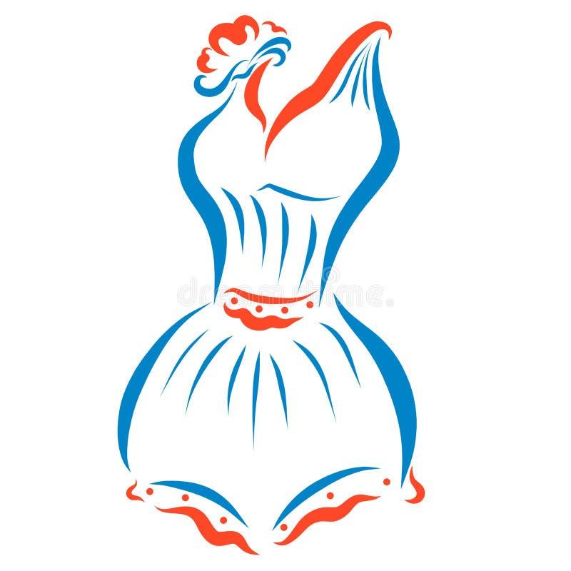 Beautiful trendy female swimsuit retro stock illustration