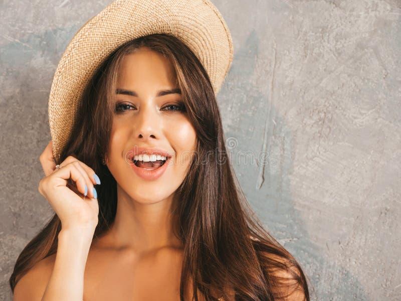 Beautiful trendy girl posing in studio stock photo
