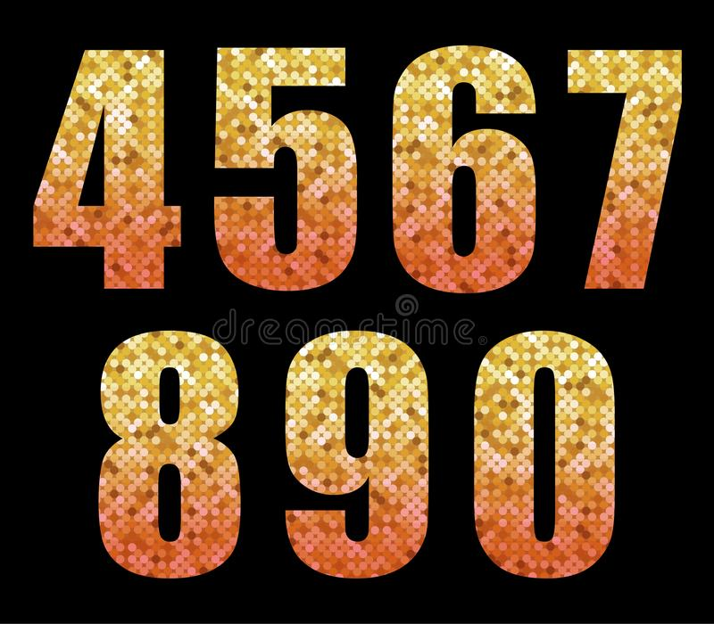 Beautiful trendy glitter alphabet numbers with gold to red ombre vector illustration