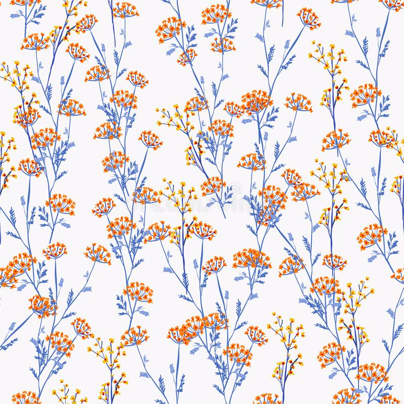 Beautiful and trendy Seamless Pattern orange and yellow meadow flowers, Isolated on light grey color. Botanical Floral Decoration vector illustration