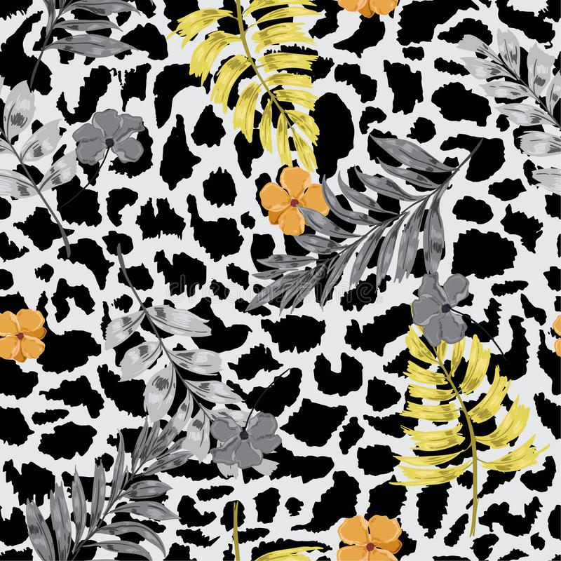 Beautiful and trendy Tropical summer floral safari leaves on exotic animal skin leopard prints ,hand drawn style background. Sea royalty free illustration