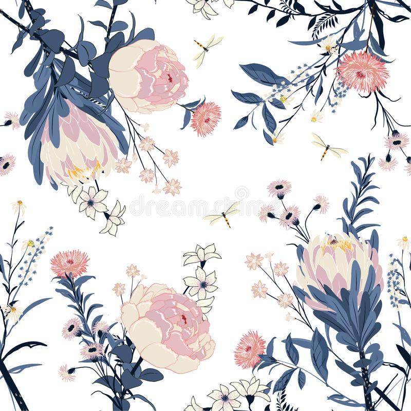 Beautiful Trendy vector Floral pattern in the many kind of flow royalty free illustration