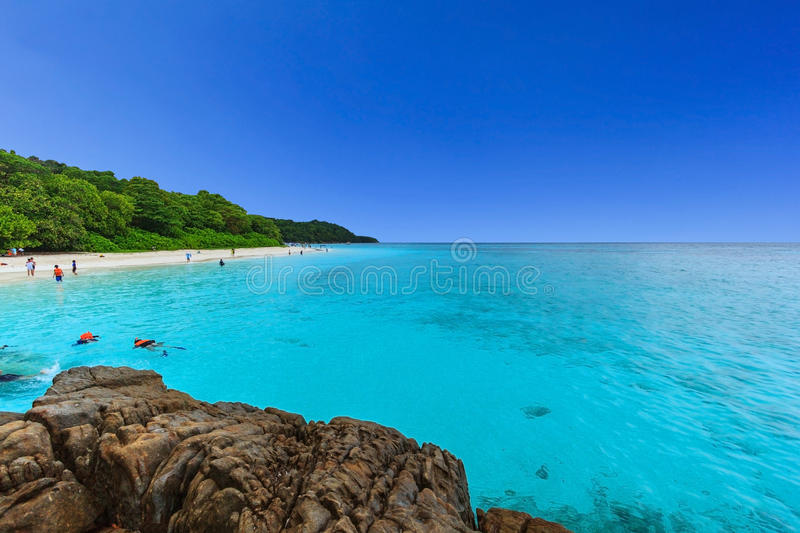 Beautiful tropical Andaman sea with beach and blue sky, Phang-nga, Thailand. Beautiful tropical Andaman sea with beach and blue sky at Tachai island, located royalty free stock images