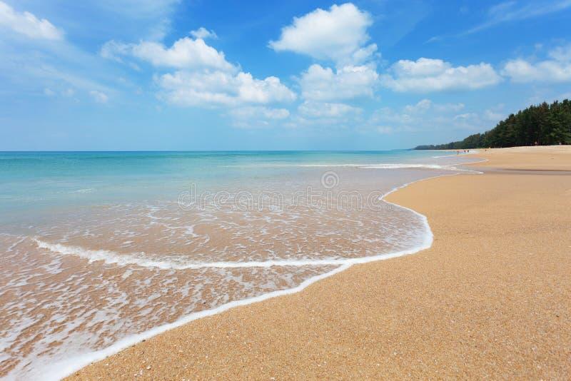 Beautiful tropical andaman seascape scenic off sandy beach phuket thailand with wave crashing on sandy shore. Beautiful tropical andaman seascape scenic off stock image