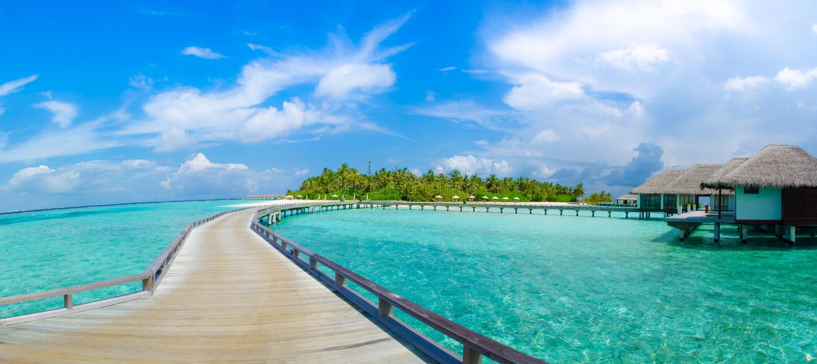 Beautiful tropical beach with bungalos panorama view at Maldives. Beautiful tropical beach with bungalos panorama view. Maldives royalty free stock images