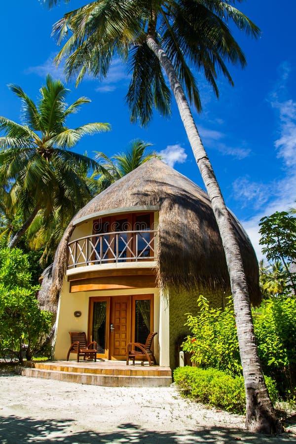 Beautiful tropical beach bungalow in Maldives stock image