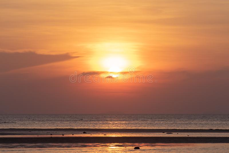 Beautiful tropical beach sunset with golden lights background,Koh Samui Thailand stock images