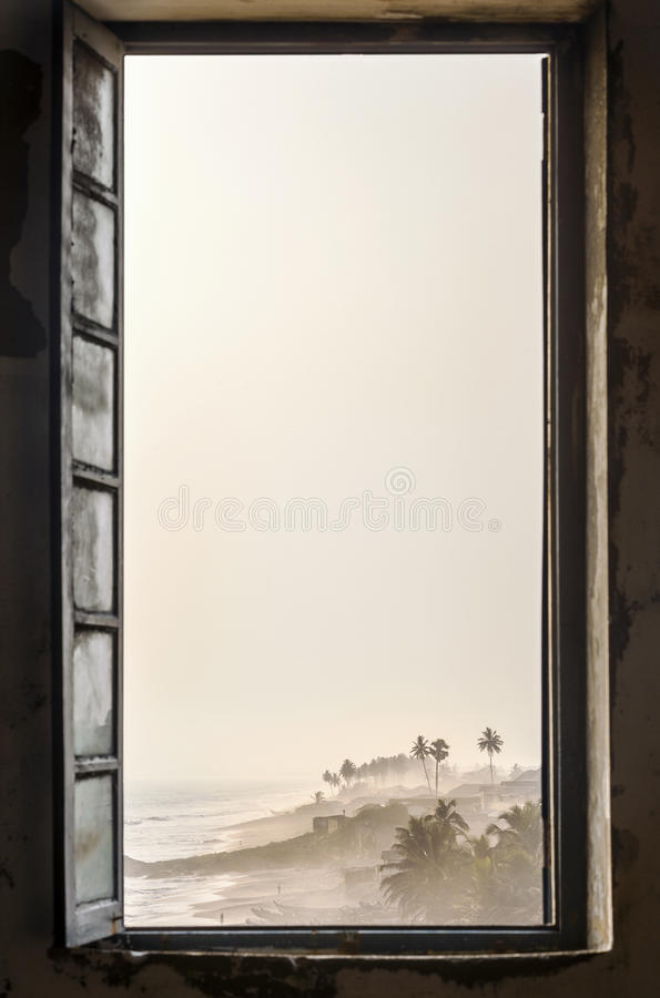 Free Beautiful Tropical Beach Through Window Royalty Free Stock Image - 38422886