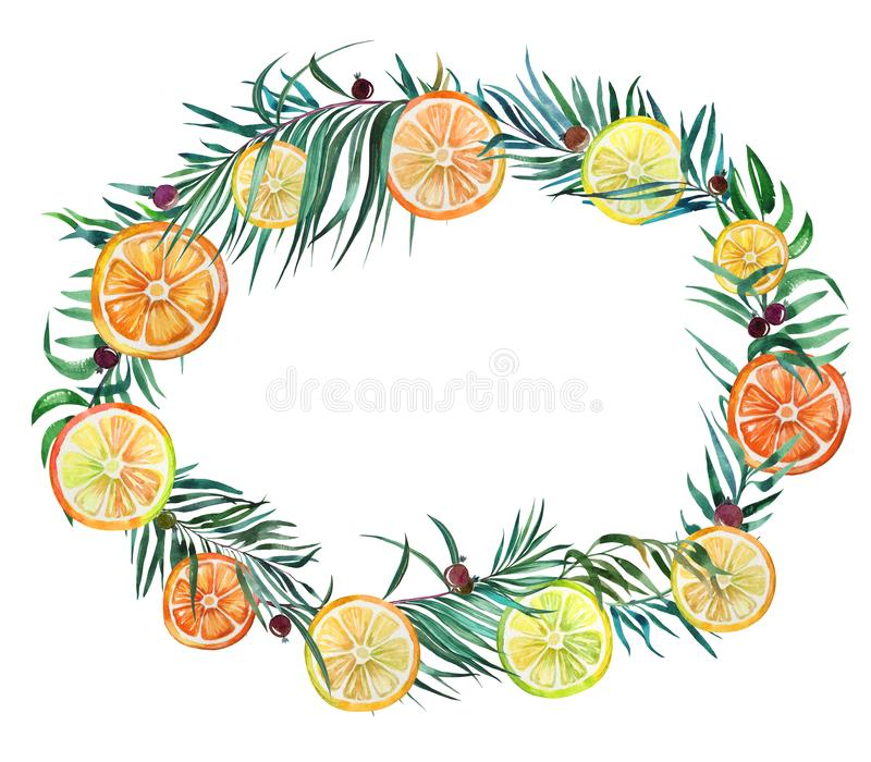Beautiful tropical border. Bright lemon and orange slices, black vector illustration