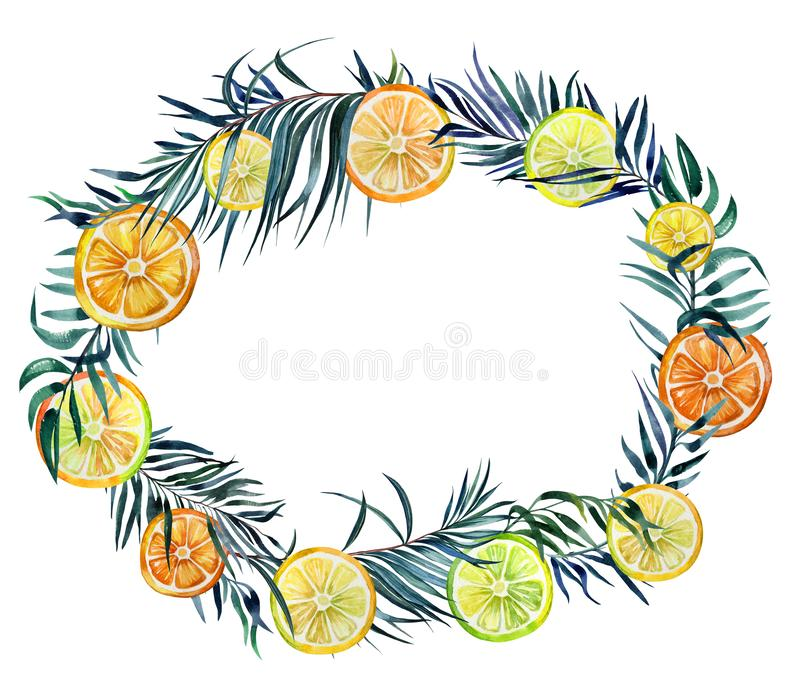 Beautiful tropical border. Bright lemon slices and exotic palm leaves isolated on white background. Oval frame with empty space for a text. Watercolor painting vector illustration