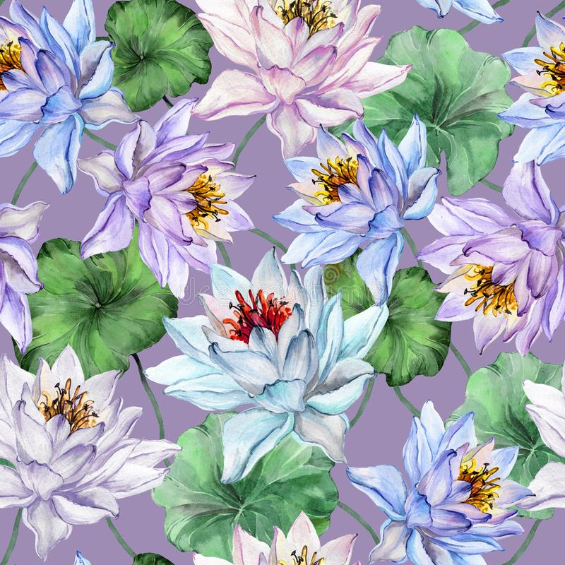 Beautiful tropical floral seamless pattern. Large blue and purple lotus flowers with leaves on light purple background. Hand drawn illustration. Watercolor stock illustration