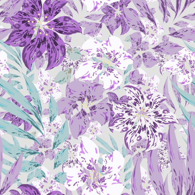 Beautiful tropical floral vector seamless pattern with Purple and white flowers with leaves on gray background royalty free illustration