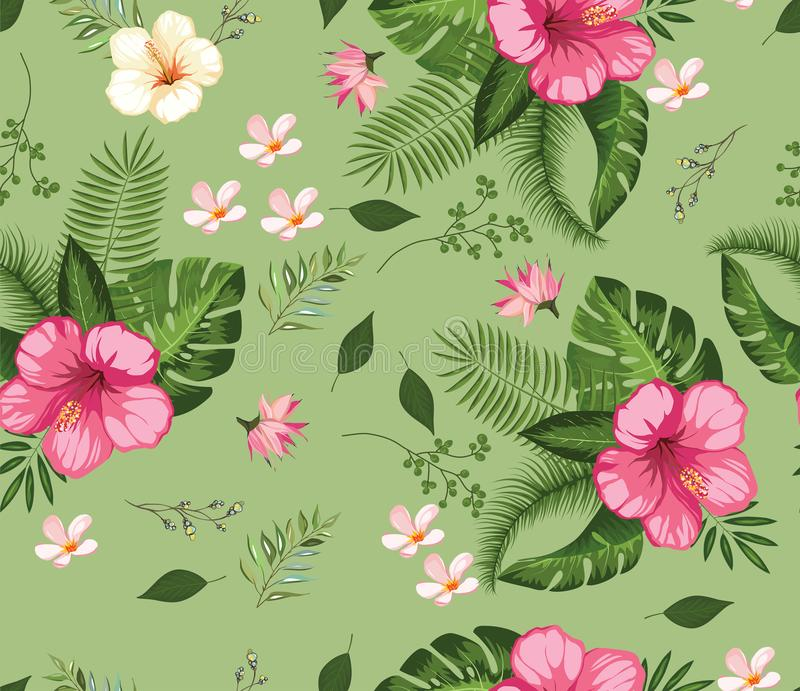 Beautiful tropical flower pattern leaves. Beautiful tropical flower pattern branches and small flowers green background stock illustration