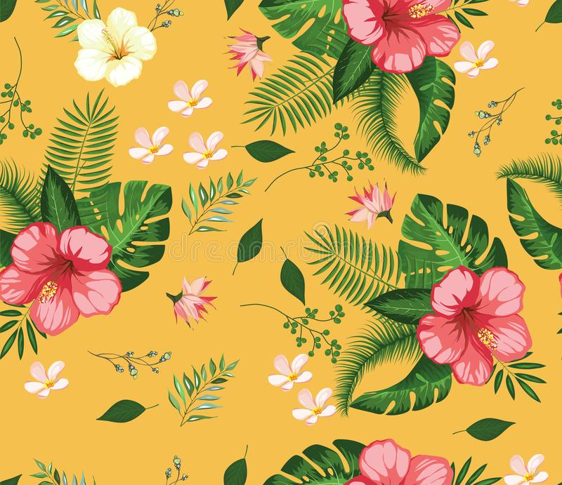 Beautiful tropical flower pattern design. Beautiful tropical flower pattern background branches and small flowers design royalty free illustration