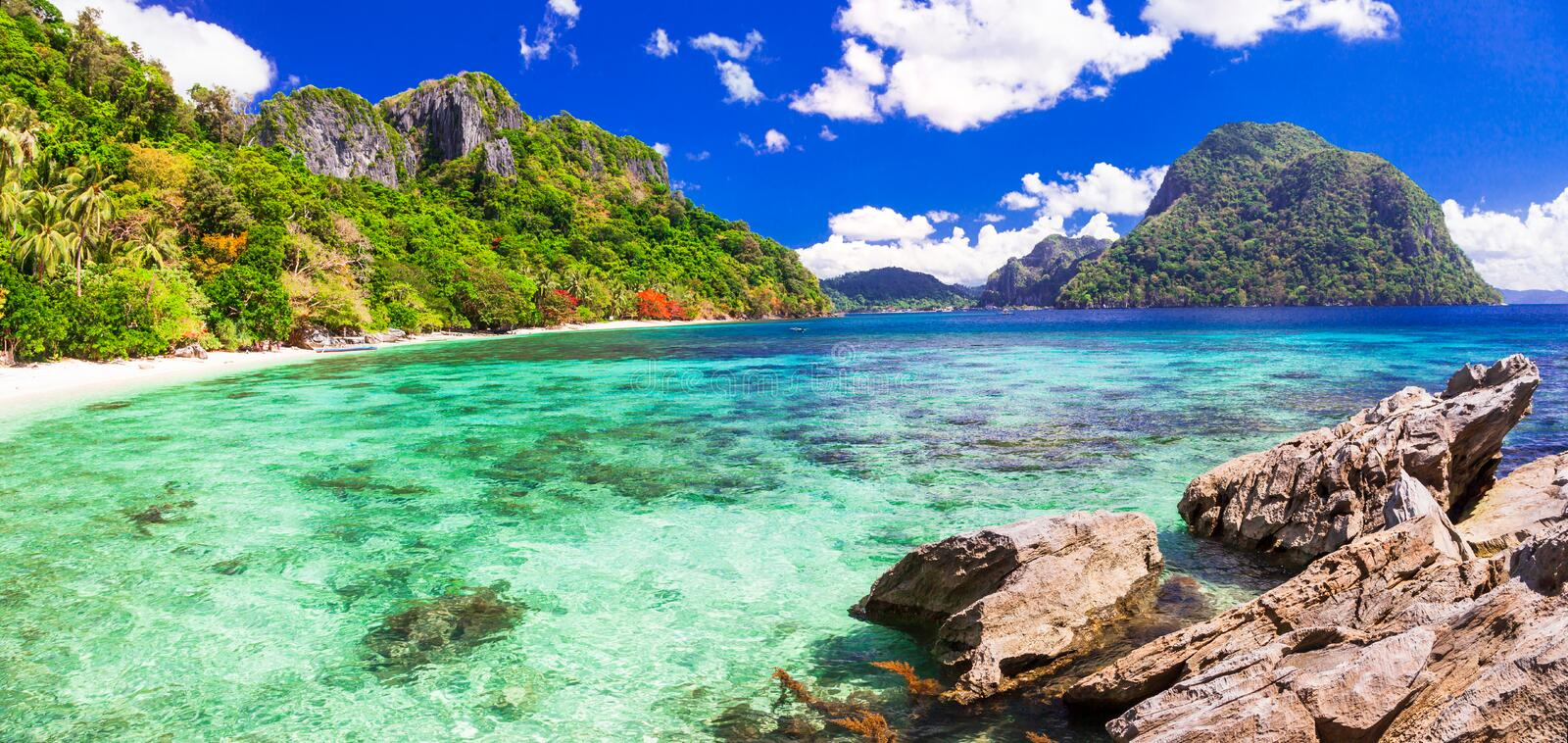 Beautiful tropical islands - amazing Palawan, Philippines stock images