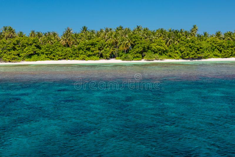 Landscape photo of beautiful paradise Maldives tropical beach on island. Summer and travel vacation concept stock images