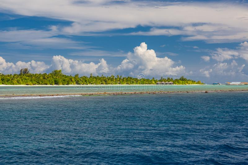 Landscape photo of beautiful paradise Maldives tropical beach on island. Summer and travel vacation concept stock photography