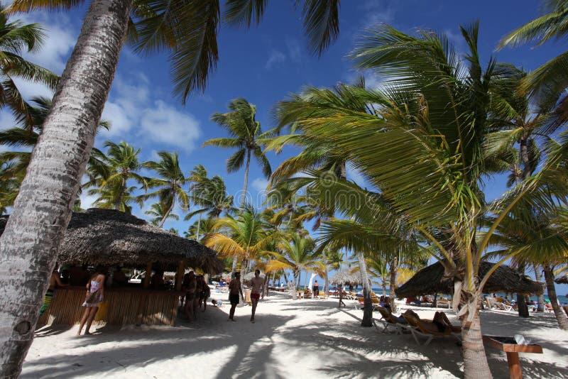 Beautiful tropical resort with beach bar stock photo
