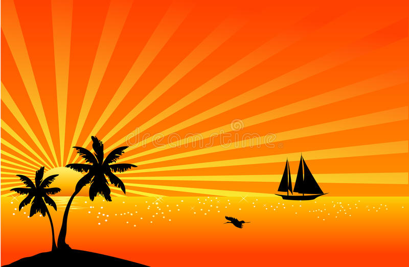 Download Beautiful tropical scene stock vector. Image of sundown - 15517583