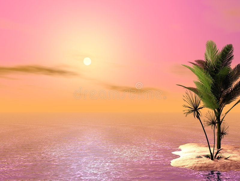 Beautiful Tropical Scene royalty free illustration