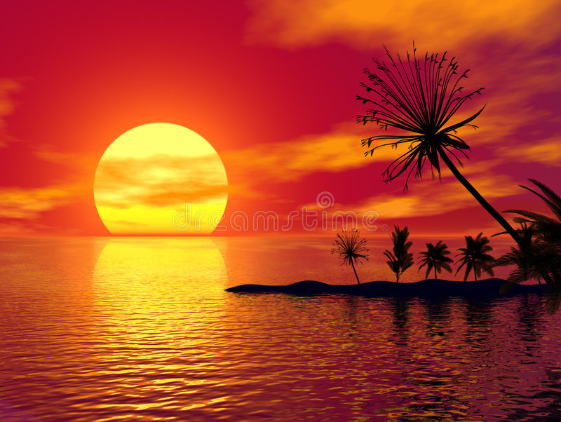 Beautiful Tropical Scene stock illustration
