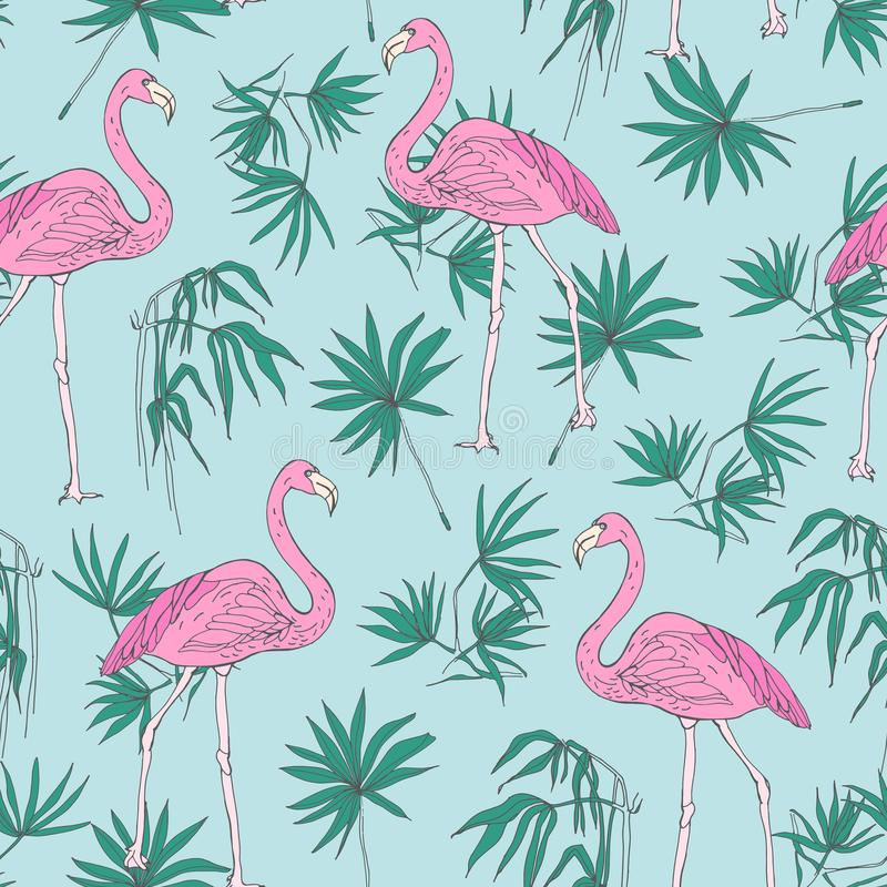 Beautiful tropical seamless pattern with pink flamingo birds and green jungle palm foliage hand drawn on blue background vector illustration