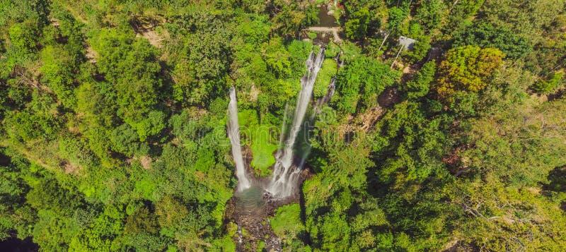 Beautiful tropical Sekumpul Waterfall in Bali, Indonesia.  stock photography