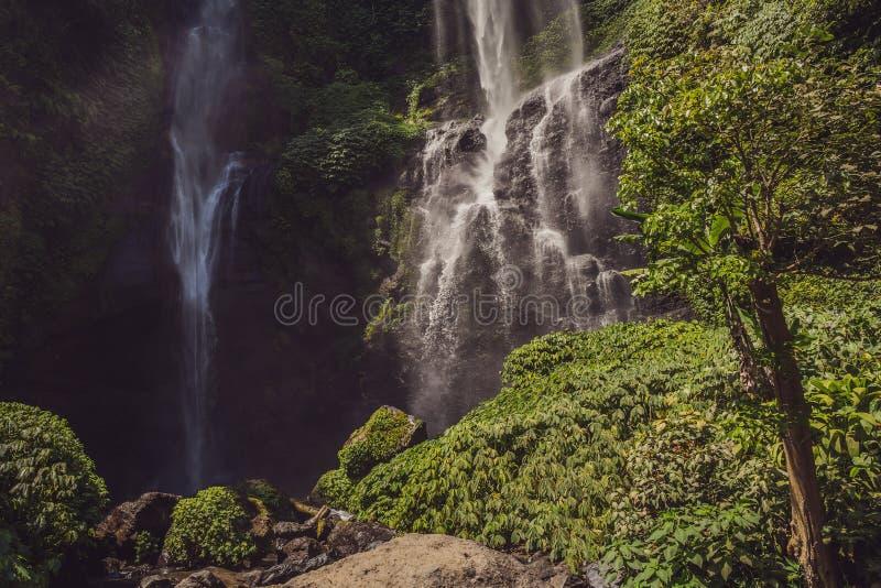 Beautiful tropical Sekumpul Waterfall in Bali, Indonesia.  royalty free stock photography
