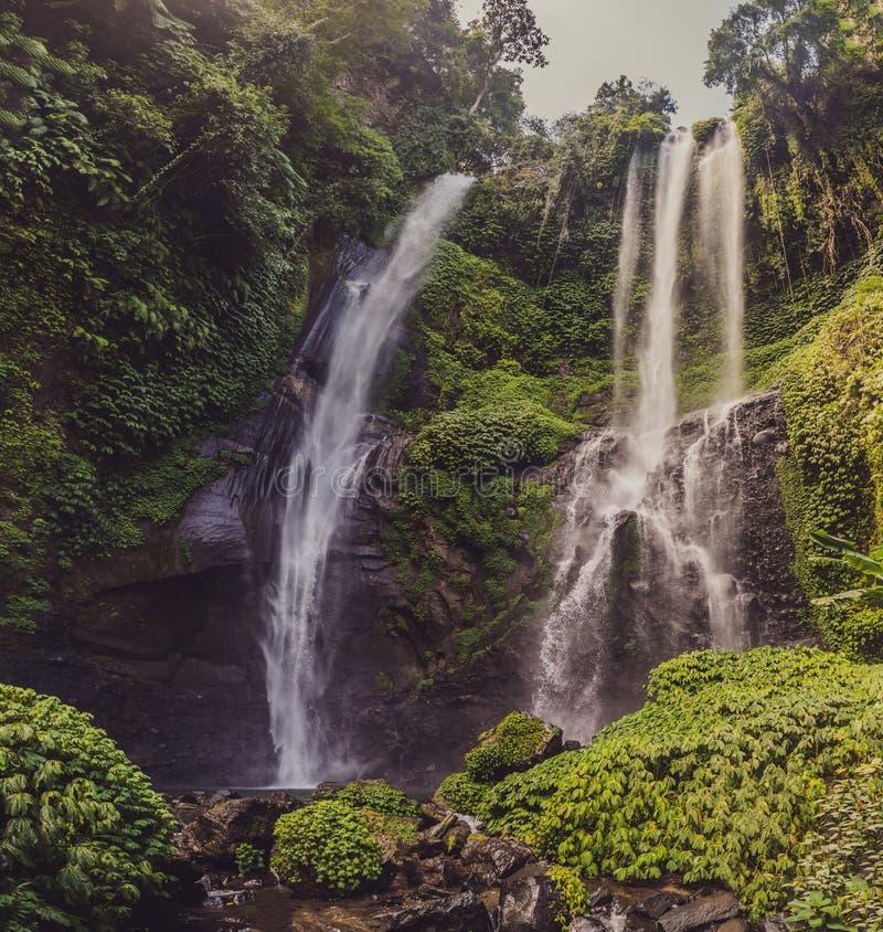 Beautiful tropical Sekumpul Waterfall in Bali, Indonesia stock photography