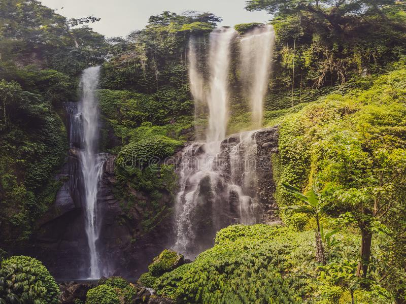 Beautiful tropical Sekumpul Waterfall in Bali, Indonesia royalty free stock photography