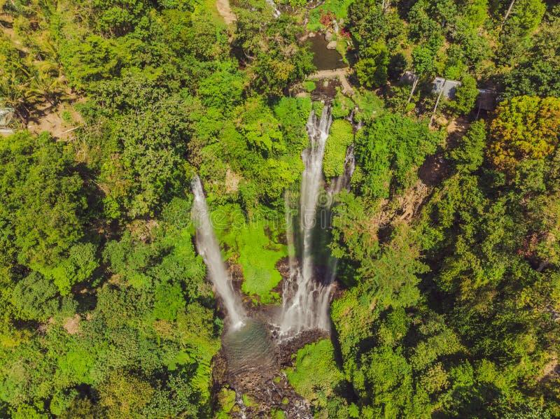 Beautiful tropical Sekumpul Waterfall in Bali, Indonesia.  royalty free stock photos