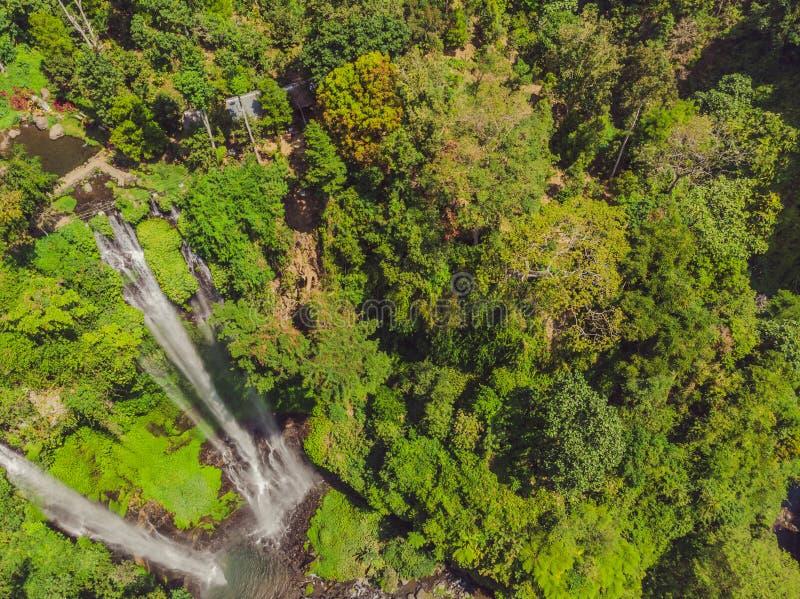 Beautiful tropical Sekumpul Waterfall in Bali, Indonesia.  stock photos