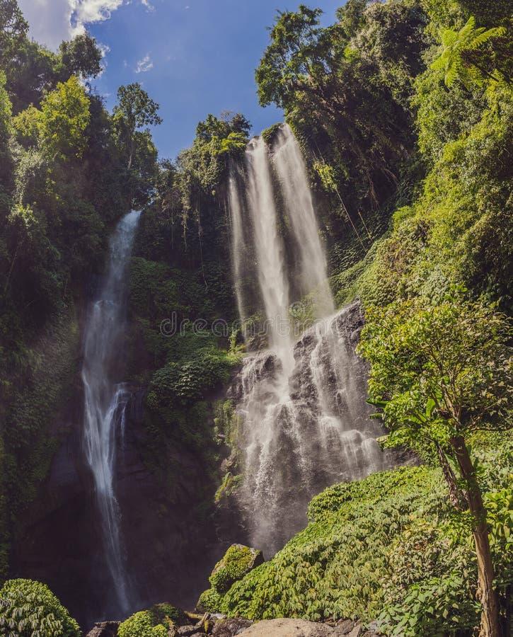 Beautiful tropical Sekumpul Waterfall in Bali, Indonesia.  stock images