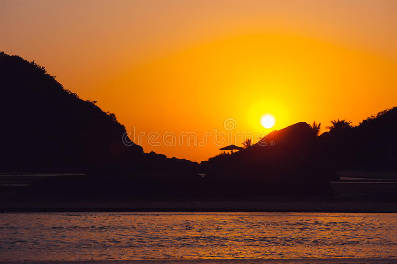 Beautiful tropical sunset In Goa, India royalty free stock photo