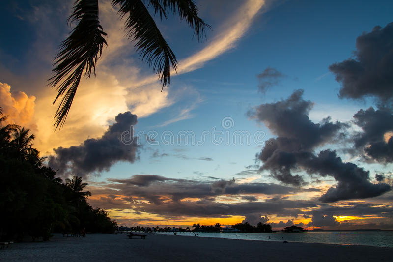 Beautiful tropical sunset landscape in Maldives stock images