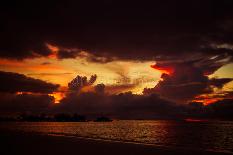 Beautiful tropical sunset landscape in Maldives stock photos