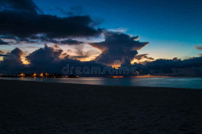 Beautiful tropical sunset royalty free stock photography